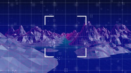 eye piece : Digital animation of square view finders and mountain graphs moving in the screen