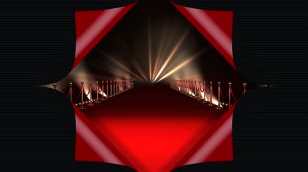 пьедестал : Digital animation of a red carpet with lights Стоковые видеозаписи