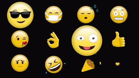 различный : Digital animation of different emojis against a black background