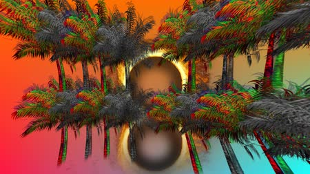 varenblad : Digital animation of a ring of fire zooming in on the screen behind colorful and monochrome palm trees Stockvideo