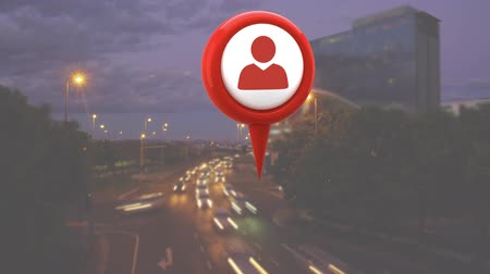 road sign : Digital animation of a profile icon in a map pin with a background of a busy road with cars