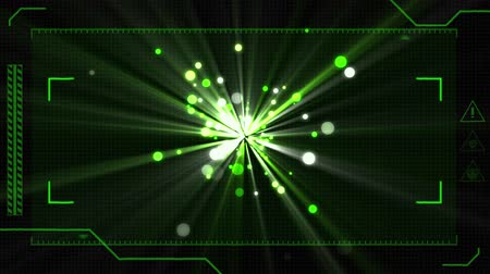 eye piece : Digital animation of a viewfinder with green and white bokeh lights moving against a black background