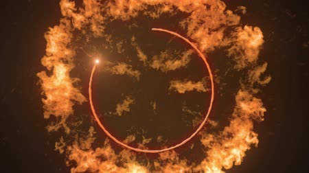 hoogovens : Digital animation of an explosion and a ring of fire in a black background