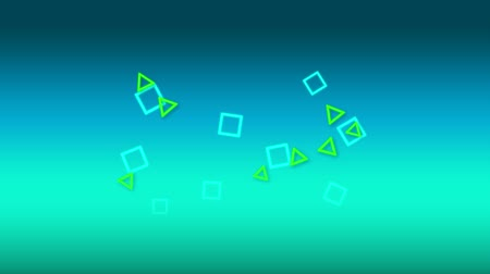 mértan : Digital animation of blue squares and green triangles floating in the screen and then falling Stock mozgókép