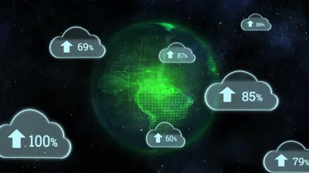 shluk : Digital animation of upload progress percentage in clouds with background of the galaxy with a globe rotating with green lights Dostupné videozáznamy