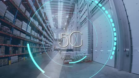 servers : Digital animation of futuristic circles moving around 5G with background of a warehouse