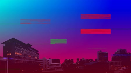 мерцание : Digital animation of colorful static with a background of buildings