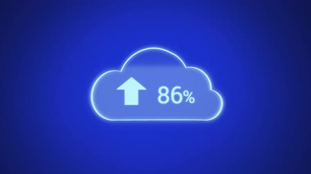 shluk : Digital animation of upload progress percentage in a cloud against a blue background