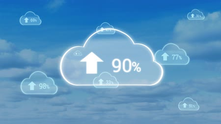 fazer upload : Digital animation of upload progress percentage in clouds with background of the blue sky with clouds Vídeos