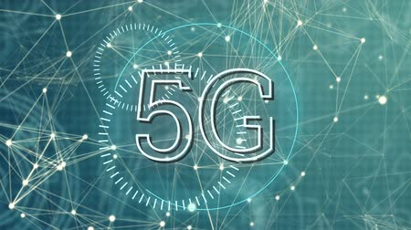 redes : Digital animation of 5G written in the middle of a futuristic circles and asymmetrical lines moving in the background Stock Footage