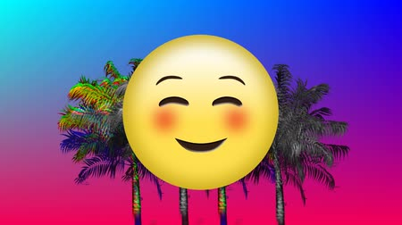varenblad : Digital animation of blushing emoji with a background of colorful and monochrome static moving in blue and violet gradient background