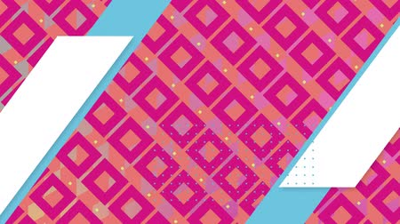 구형 : Digital animation of pink and yellow square patterns with blue and white parallelogram moving in the screen 무비클립