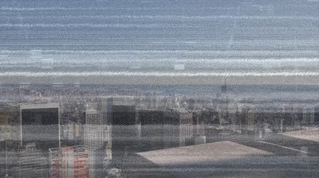 мерцание : Digital animation of static moving in the screen with a view of the city with buildings Стоковые видеозаписи