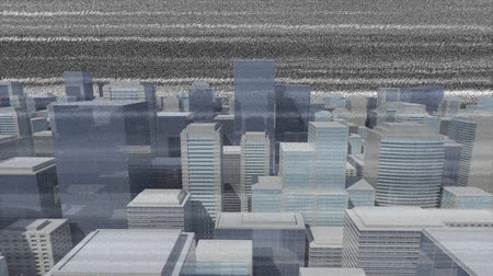 błąd : Digital animation of static with a background of digital buildings Wideo