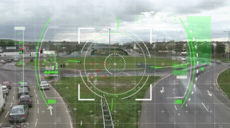 eye piece : Digital animation of a digital view finder with a view of a roundabout with cars Stock Footage