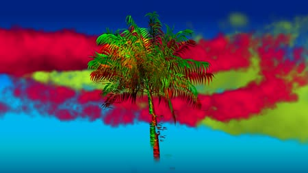 smokey : Digital animation of a colorful palm tree with yellow and red smoke moving against a blue gradient screen Stock Footage