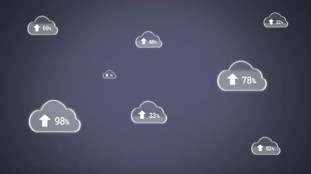 databáze : Digital animation of upload progress percentage in clouds against a grey background