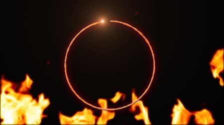 ontvlambaar : Digital animation of a ring of fire with black background and burning fire