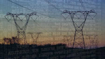 programming language : Digital animation of program codes moving in the screen with a background of a field with power line towers during sunset Stock Footage