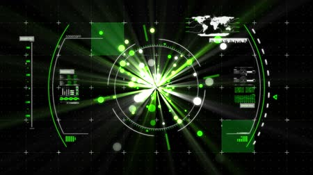 eye piece : Digital animation of a view finder and a digital interface with a world map and glowing lights in the middle Stock Footage