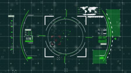 eye piece : Digital animation of a view finder in a futuristic interface with a world map and green squares moving in the screen