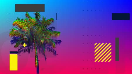 varenblad : Digital animation of a colorful palm tree with squares and rectangles moving in the blue and violet gradient background