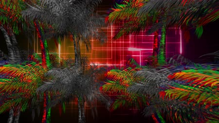 varenblad : Digital animation of colorful and monochrome palm trees moving in the screen with a background of glowing square patterns Stockvideo