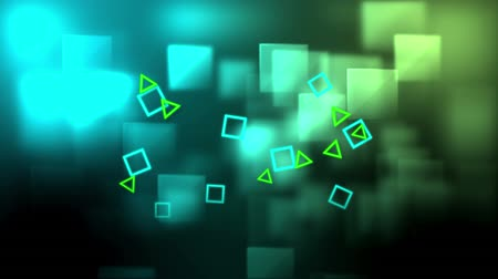 구형 : Digital animation of blue squares and green triangles in the screen and then falling with a background of square patterns 무비클립