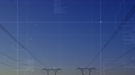 command : Digital animation of program codes moving in the screen with a background of power line towers at dusk