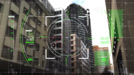 eye piece : Digital animation of viewfinder with green squares moving in the screen with a background of buildings