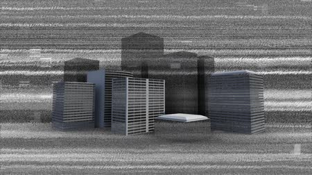 мерцание : Digital animation of monochrome static in the screen with background of buildings against a black background