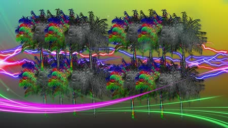 dijital oluşturulan görüntü : Digital animation of colorful and monochrome palm trees moving in the screen with a background of yellow and green gradient with colorful lightning while purple and green light appears in the screen