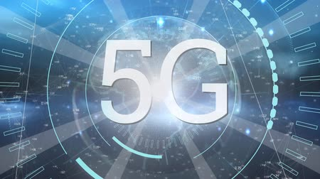 continent : Digital animation of 5G written in the middle of a futuristic circle and a background of a globe rotating