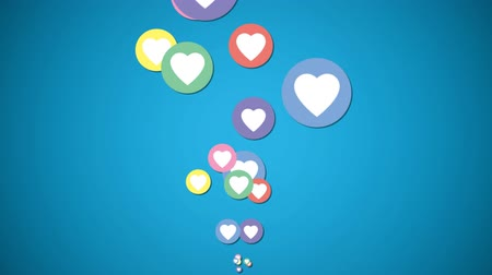navegador : Digital animation of colorful heart icons moving in the screen against blue background