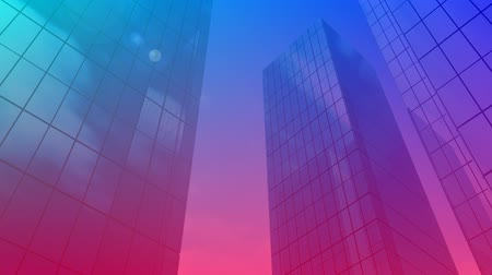 dijital oluşturulan görüntü : Digital animation of buildings with blue and violet gradient while clouds move in the background