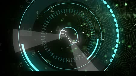 chráněný : Digital animation of futuristic circles moving around 5G with background of  digital circuit with a lock