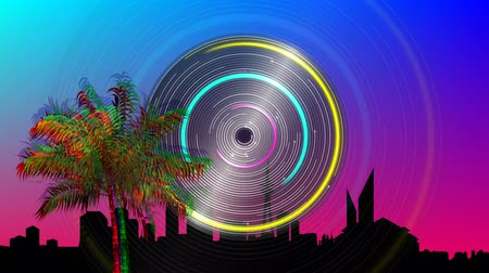 estrutura : Digital animation of a colorful palm tree moving in the screen with a colorful circle spinning and a background of a silhouette of a city