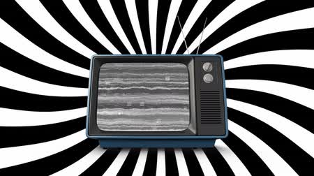 dijital oluşturulan görüntü : Digital animation of static in an old television while black and white diagonal lines move in the background