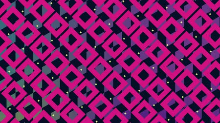 quadrangle : Digital animation of diamond patterns with pink and yellow square patterns blinking in the screen