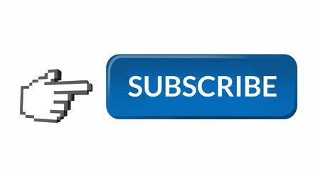 inscrição : Digital animation of a blue subscription button with a moving pointing hand icon on the left, on a white background 4k Vídeos