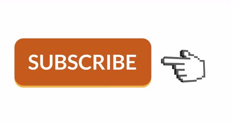 inscrição : Digital animation of orange subscription button with moving pointing hand icon on the right on a white background 4k