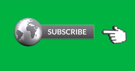 csatolt : Digital animation of grey subscription button with grey image of the Earth attached on the left. Moving pointing hand icon on the right, on green background 4k Stock mozgókép