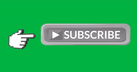 inscrição : Digital animation of grey subscription button with moving pointing hand icon on the left on green background 4k