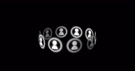 dez : Digital animation of ten vector icons of people moving in circle on black background. 4k