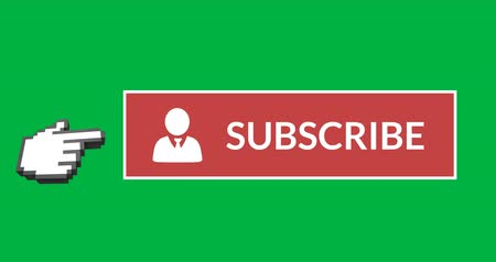 inscrição : Digital animation of red subscription button with moving pointing hand icon on the left on green background 4k