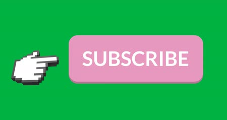 abbonamento : Digital animation of pink subscription button with moving pointing hand icon on the left on green background. 4k Filmati Stock