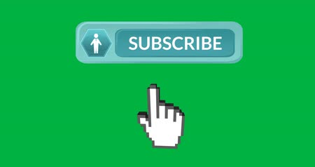 böjti réce : Digital animation of teal subscription button with vector icon of man inside hexagon on the left. Moving pointing hand icon at the bottom, on green background. 4k Stock mozgókép