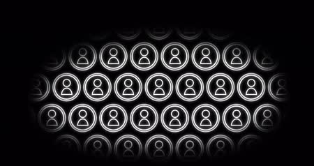 oválný : Animation of people vector icons that are stationary and those that move to the left; all icons move downward, then upward in an oval peek view with black background 4k