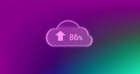 subscribers : Digital animation of uploading in a digital cloud showing percentage uploaded on an abstract green violet background 4k