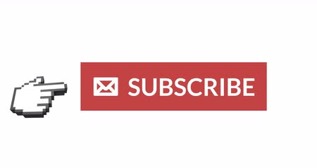 subscribers : Digital animation of the word SUBSCRIBE and envelope icon with hand icon vector on the right pointing on it against white background. 4k